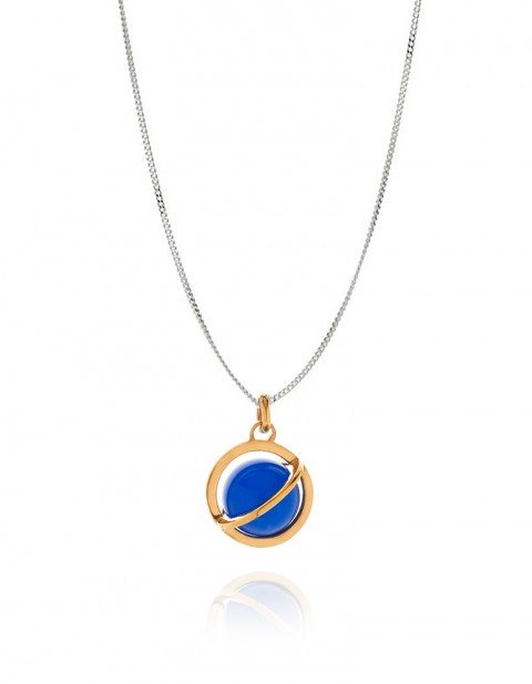 Astral medium orbit necklace with blue agate AS19-GP/BA/S