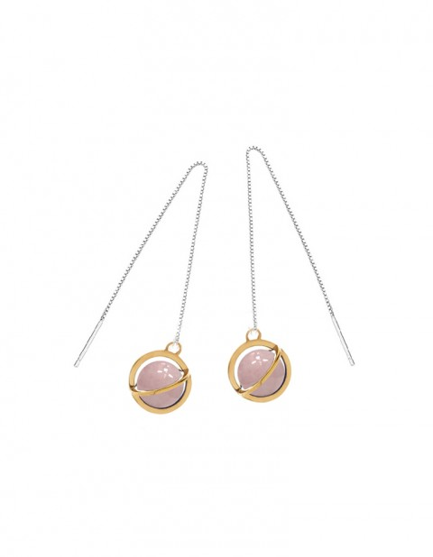 Astral long orbit earrings with rose quartz AS23L-GP/RQ/S