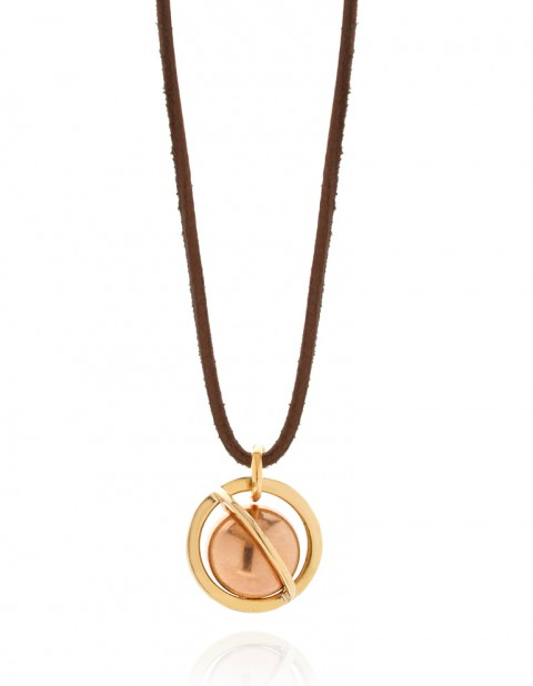 Astral large orbit necklace on leather AS24-GP/BR/BN