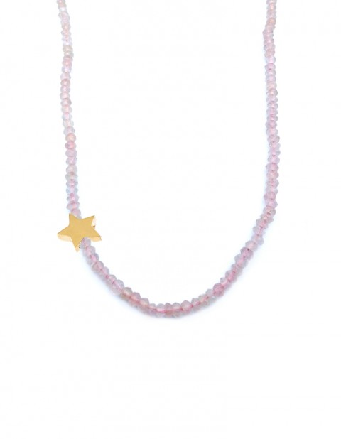 Astral small star necklace with rose quartz AS33-GP/RQ