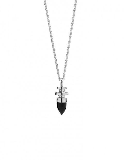 silver round totem necklace with onyx on silver chain PW28-S/ON/S