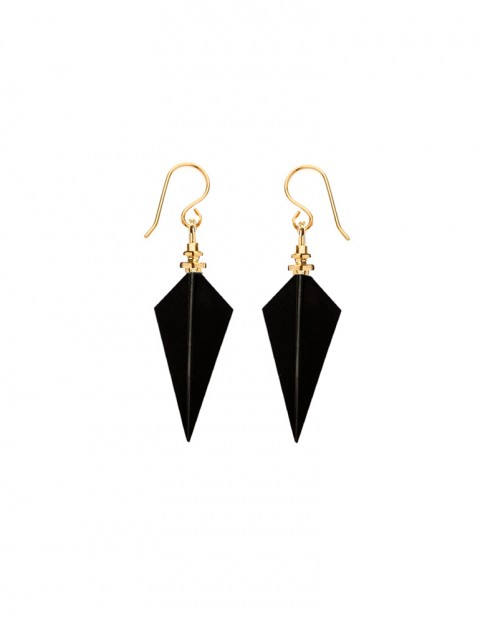 crow feather earrings PW44 BK2-GP