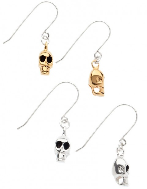 silver and gold skull earrings SS00/1