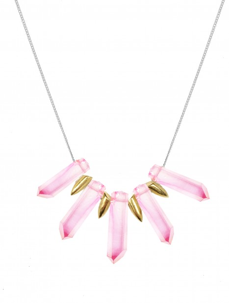 Pink tusk necklace TK24-PKQ-GP-S