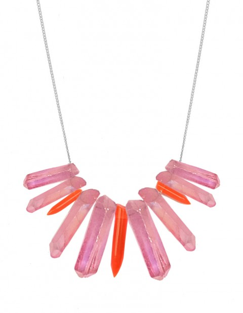 Pink and neon tusk necklace TK27-PKQ/RPX/S