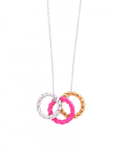 silver fluoro pink silver Rope Hoop Necklace on silver chain LL06_P