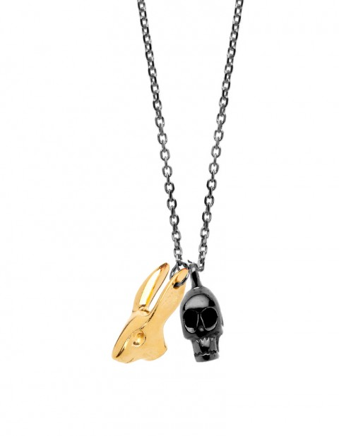 black rhodium skull & gold rabbit necklace on oxidised silver chain R26
