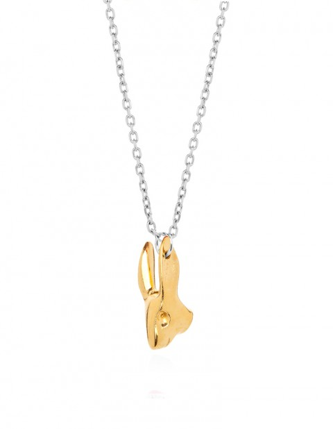 gold rabbit necklace on silver chain R01-GP/S