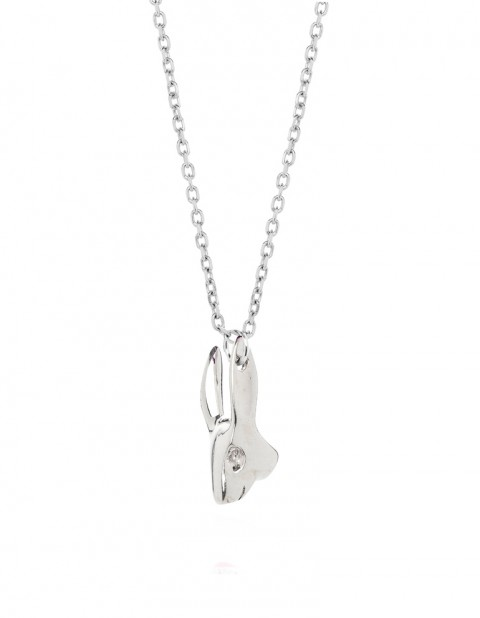 Silver rabbit necklace on silver chain R01-S/S