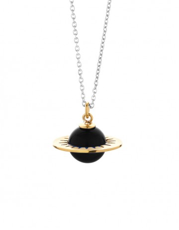 Astral medium planet necklace with onyx AS01-GP/B/S