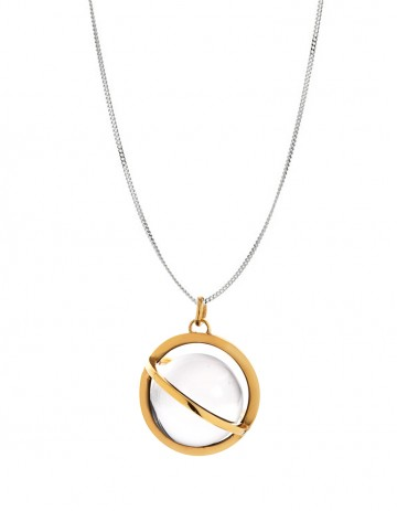 Astral large gold orbit necklace with rock crystal AS20 -GP/RC/S