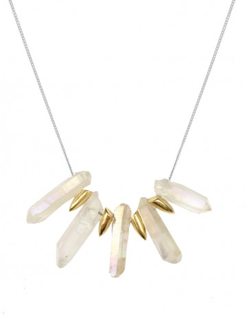 White rainbow tusk necklace TK24-WHQ/GP/S
