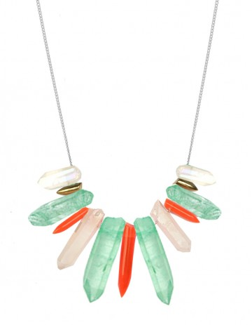 Green and neon tusk necklace TK27-GQ/WHQ/RPX/GP/S