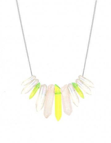 White and neon tusk necklace TK27-WHQ-YPX-S