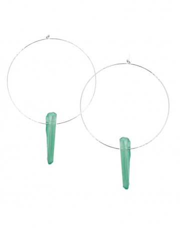 Green quartz hoop earrings TK38-GQ-S