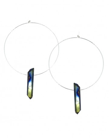 Small rainbow quartz hoop earrings TK38-RBQ-S
