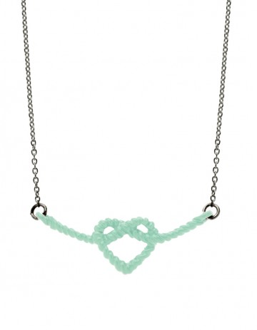 Aqua heart knot necklace on oxidised silver chain LL01-AQ/OX