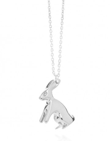 Big silver rabbit necklace R07